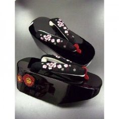 Black Lacquer Geta Shoes with Cherry Blossoms Motif.