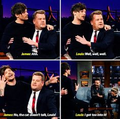 Louis acting as a cat on The Late Late Show with James Corden - December, 2015