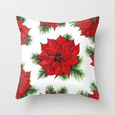 Throw Pillow made from 100% spun polyester poplin fabric, a stylish statement that will liven up any room. Individually cut and sewn by hand, each pillow features a double-sided print and is finished with a concealed zipper for ease of care.  Sold with or without faux down pillow insert. #s6 #S6GTP #society6 #christmas #christmasdecor #pillow