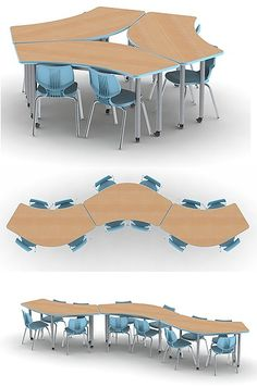 Collaborative Desks and Collaboration Tables- Collaborative Desks and Collaboration Tables Smith System Uxl Crescent Table – Office Space Design, Office Interior Design, Office Interiors, Interior Design Living Room, Classroom Furniture, School Furniture, Modular Furniture, Furniture Design, Corporate Office Design