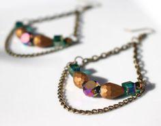 Gold & Green Blue Chain  Drop Chandelier  Earrings on Etsy, $25.00