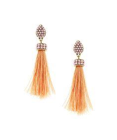 Peach & Gold Tassel Earrings #zulily