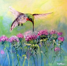 ART Hummingbird and Purple Thistle  Original Acrylic Painting 12x12 ,Ruby Throated         I take CREDIT CARDS.by bigapple60, via Etsy.