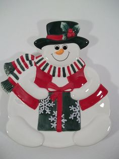 """Fitz and Floyd - Holiday Snowman - Canape/Cookie Plate - NIB  9.5"""" Tall"""