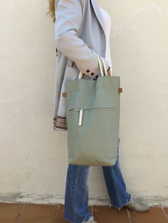 Free Shipping/Green tote leather bag/light sage green от LaraKlass
