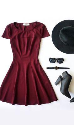 Lingering Kiss Burgundy Dress