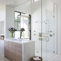 2 Story Shower, Modern, bathroom, Ryan Street and Associates