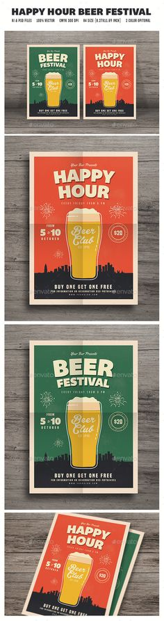 Happy Hour Beer Festival Flyer Template PSD, AI Illustrator