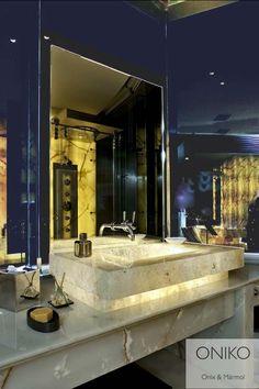 Mueble de baño ónix con detalles en mármol, somos fabricantes síguenos  https://www.facebook.com/onikostone realiza tus pedidos a onikostone@outlook.com