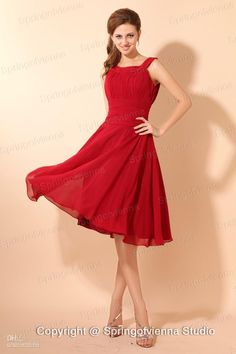 Wholesale Wedding Veil - Buy 2013 Style Absorbing Straps Scoop Pleated Empire Waist Red Chiffon Bridesmaid Dress With Tea Length, $103.45 | DHgate