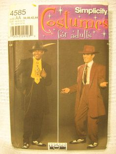 COol cat Adult Costume Pattern Zoot Suit Swing Dance Cool Cat SIMPLICITY 4585 Size 38-44