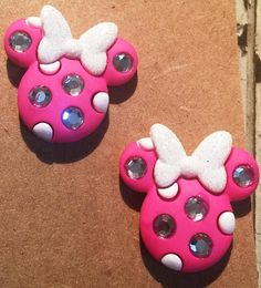 Minnie Mouse earrings pick from pink or white bow on nickel