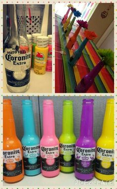 DIY Fiesta Corona bottles filled with paint! Perfect for table centerpieces!