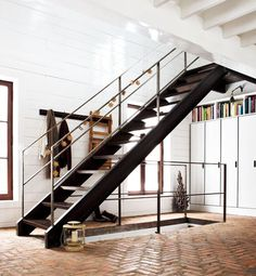dark brown and chrome modern stair rails modern artistic rustic big sur interiors pinterest escalera barandales y barandales de escaleras