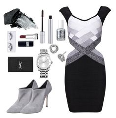 """""""#night #silver"""" by elianaingrassia on Polyvore featuring moda, Casadei, Sterling, Ardell, Gorgeous Cosmetics, Essie, T. LeClerc, Yves Saint Laurent y Calvin Klein"""
