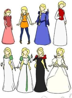 Princess Odette in all her outfits. My favorites? The purple dress and the red bodice. by kristine