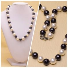 Black & White Tridacna Shell Necklace This shell comes from a clam shell they are 10 mm bead shells ending with a 18K WGP clasp. New! Jewelry Necklaces