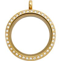 LARGE GOLD LIVING LOCKET® WITH CRYSTALS