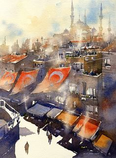"""Iain Stewart Watercolors  Study for a larger piece. Noon Cooking Fires Akbiyik Cadessi- Istanbul  10"""" x 8"""""""