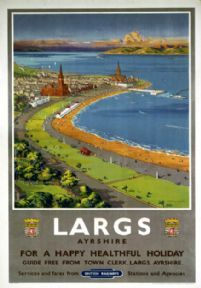 Largs. Vintage BR Travel Poster by Montague Birrell Black