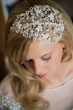 Rebecca in her Hermione Harbutt Vintage Vine Royal Headdress | Blonde Hair Inspiration  http://www.hermioneharbutt.com/wedding/hair_accessories/buy.php?Product=223&Title=Vintage+Vine+Royal+Headdress