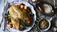 Gordon Ramsay& easy take on the roast turkey crown has a stove-top cooked herb stuffing and plenty of creamy gravy. Herb Stuffing, Stuffing Recipes, Turkey Recipes, Dinner Recipes, Dinner Ideas, Chicken Recipes, Turkey Crown Cooking Times, Cooking Turkey, Cooking Bacon