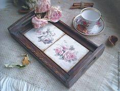 """Купить Поднос """"Розы на утро"""" - коричневый, розы, поднос для завтрака, поднос деревянный"""