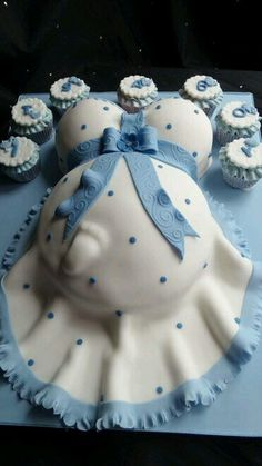 Baby Bump Baby Shower Cake In Blue And White Tap The Link Now To Find The  Hottest Products For Your Baby!