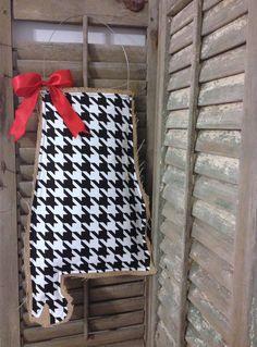 Alabama Burlap Door Hanger  Houndstooth by MagnoliaBelleDesigns, $35.00