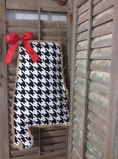 Alabama Burlap Door Hanger  Houndstooth by MagnoliaBelleDesigns, $35.00