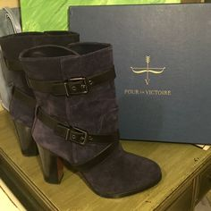 Pour la Victoire blue black buckle boots The most gorgeous boots I've ever seen! These are my baby, but they are a full size too big. Size10. Worn once and in brand New condition. Has original box too. Material: split suede/calf leather. Style: Roslin Pour la Victoire Shoes Heeled Boots