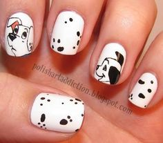 Disney Movie-Inspired nail art ideas and manicure designs. See more about polish art, disney movies and nail art ideas. Dog Nail Art, Dog Nails, Cute Nail Art, Cute Nails, Pretty Nails, Animal Nail Art, Fabulous Nails, Cute Nail Designs, Creative Nails