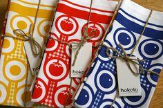 Set of 3 cotton tea towels by Hokolo on Etsy, £30.00