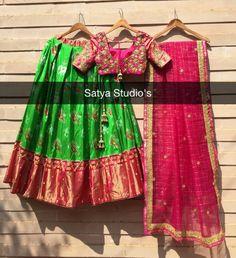 Half Saree Lehenga, Saree Gown, Bridal Lehenga, Half Saree Designs, Blouse Designs, Indian Dresses, Indian Outfits, Kids Ethnic Wear, Ikkat Dresses
