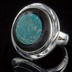 Silver and Turquoise Ring Ebony Ring Turquoise Ring by Tribulondon