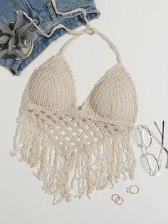 Bikini Halter, Bikini Set, Bikini Tops, Crochet Bikini Top, Crochet Top, Crochet Headband Tutorial, Piece Of Clothing, Bathing Suits, Female