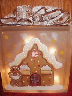 Gingerbread house glass block. Do over the one that did not sell at shop