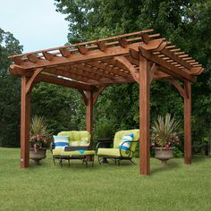 This cedar pergola is ideal for creating a backyard oasis. Made from solid wood, the pergola is strong and durable, and it arrives pre-stained and ready for assembly. The 10 x 12 pergola is the perfec Cedar Pergola, Gazebo Pergola, Pergola Ideas, Patio Ideas, Backyard Ideas, Vinyl Pergola, Aluminum Pergola, Gazebo Canopy, Grill Canopy