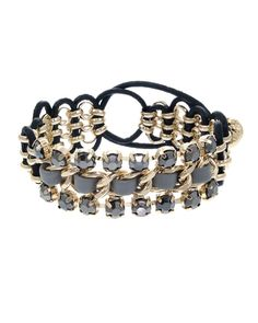 "ZB0338  Faux leather and faceted natural stone pull-tie bracelet. Wear it with a tank top on a cool day. Lead and nickel safe.    MEASUREMENT  Width: 7/8"" - ZB0338-GOLD HEMATITE"