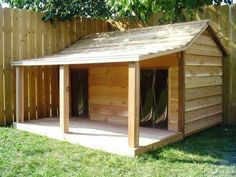 large dog house with porch \ large dog house . large dog house with porch . large dog house plans how to build . Double Dog House, Dog House With Porch, House Dog, Large Dog House Plans, Goat House, Dog House Outside, Extra Large Dog House, Build A Dog House, Grande Niche