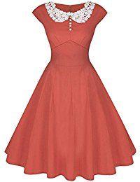 Partiss Women Classy Vintage Audrey Hepburn Style 1940's Rockabilly Evening Dress