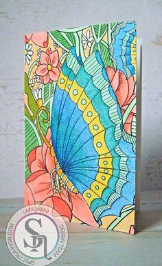 Card made using Spectrum Noir Colorista – Butterfly Garden Colorista Card Making Kit - Glitter Pad. Spectrum Noir Colorista markers: Pale Mint, Daffodil, Purple Violet, Orchid, Lemon, Rose Blush, Magenta, Burgundy, Hot Pink, Canary. Designed by Laine Webb. #crafterscompanion #spectrumnoir #colorista.