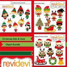 Cute christmas clip art featuring kids and owls. This bundle includes 3 packs of digital images. Boys and girls in elf costumes, santa's helpers, and cute owls are among the graphics.Within your purchase, you will get these 3 sets:1. Xmas elves party 081312.