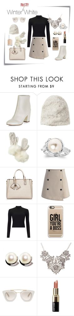 """""""Winter (mostly) White"""" by emilylozano on Polyvore featuring Post-It, New Look, Madison 88, Vincent Pradier, AeraVida, Chicwish, Miss Selfridge, Casetify, Prada and Bobbi Brown Cosmetics"""