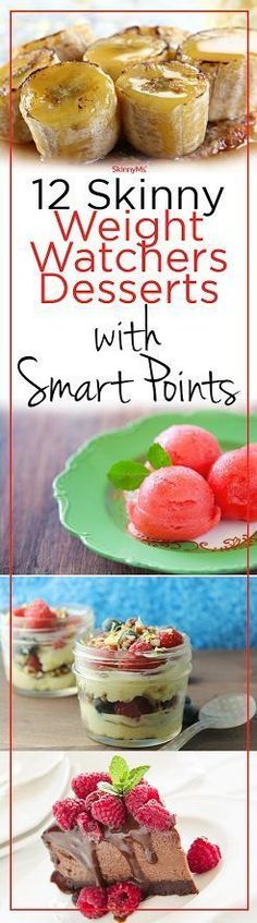 12 Skinny Weight Watchers Desserts with Smart Points! Weight Watcher Points, Weight Watchers Food, Weight Watchers Recipes With Smartpoints, Recette Weight Watcher, Weight Watcher Dinners, Weightwatchers Desserts, Quick Recipes, Ww Recipes, Sausage Recipes