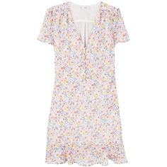 Mango Floral Print Dress ($65) ❤ liked on Polyvore featuring dresses, women dresses, flutter-sleeve dresses, pink ruffle dress, pink frilly dress, v neck dress and tea party dresses