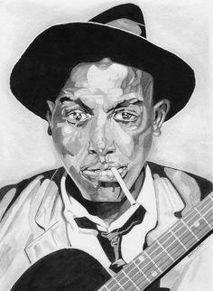 Commission of blues legend Robert Johnson. Brush 14x17 -Brad Joyce