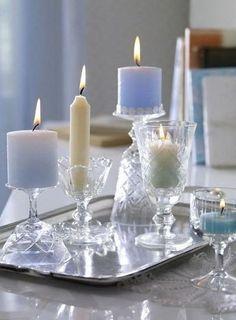 Deco ideas with candles DIY Candles Design - Candle Lanterns, Diy Candles, Pillar Candles, Candels, Design Candles, Blue Candles, Bougie Candle, Raindrops And Roses, Crystal Stemware