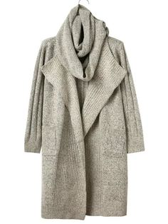 Apricot Pocket Long Sweater Coat With Scarf — € ------------color: Apricot size: one-size Long Sweater Coat, Long Sweaters, Long Sleeve Sweater, Long Cardigan, Cardigan Sweaters, Ribbed Sweater, Fall Sweaters For Women, Cardigans For Women, Knitted Coat