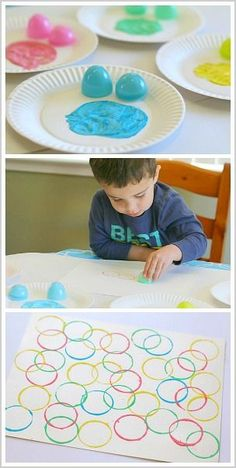 Elk kindje krijgt bij dit spel dopjes of eierdoppen en verf op een bordje. Hiermee kunnen ze dan stempelen op een blad.